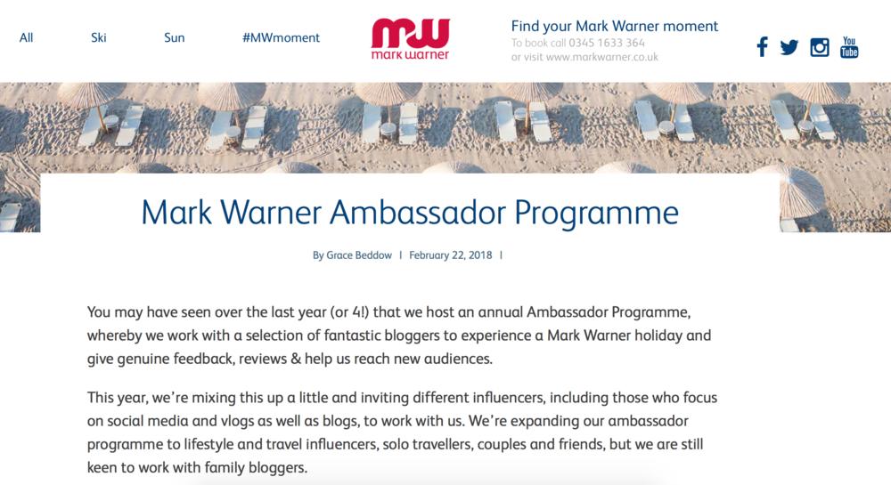 Mark Warner Blogger Programme