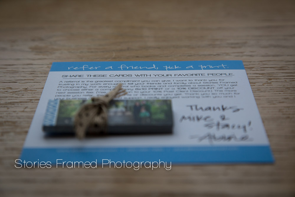 Stories Framed Photography Client Referral Cards