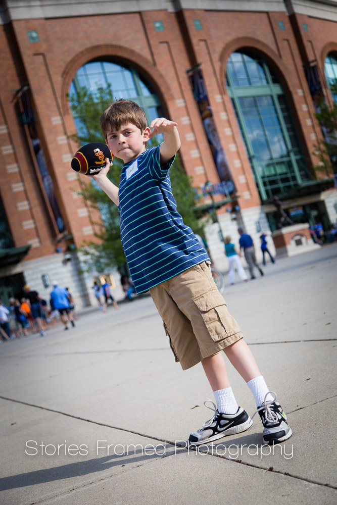 Stories Framed Photography | TMJ Night at Miller Park | boy and his football