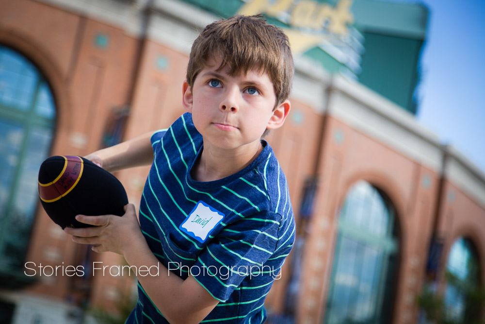 Stories Framed Photography | TMJ Night at Miller Park | boy and his Heisman pose