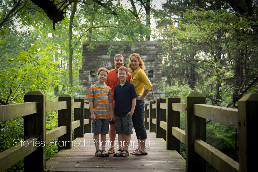 Stories Framed Photography | family on bridge at Hoyt Park | Wauwatosa