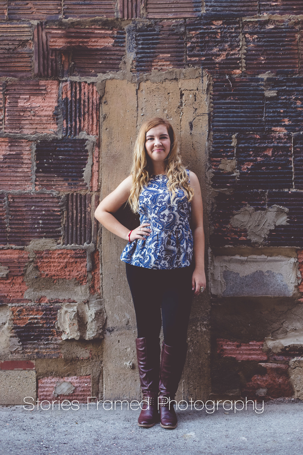 Stories Framed Photography | senior portrait | brick wall | Milwaukee