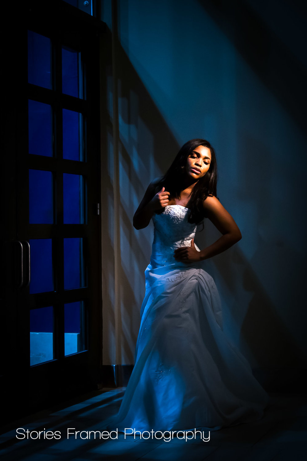 Imaging USA | night wedding portraits bride in window