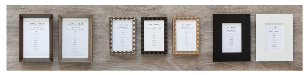 Framing Options for both Packages and A la Carte.