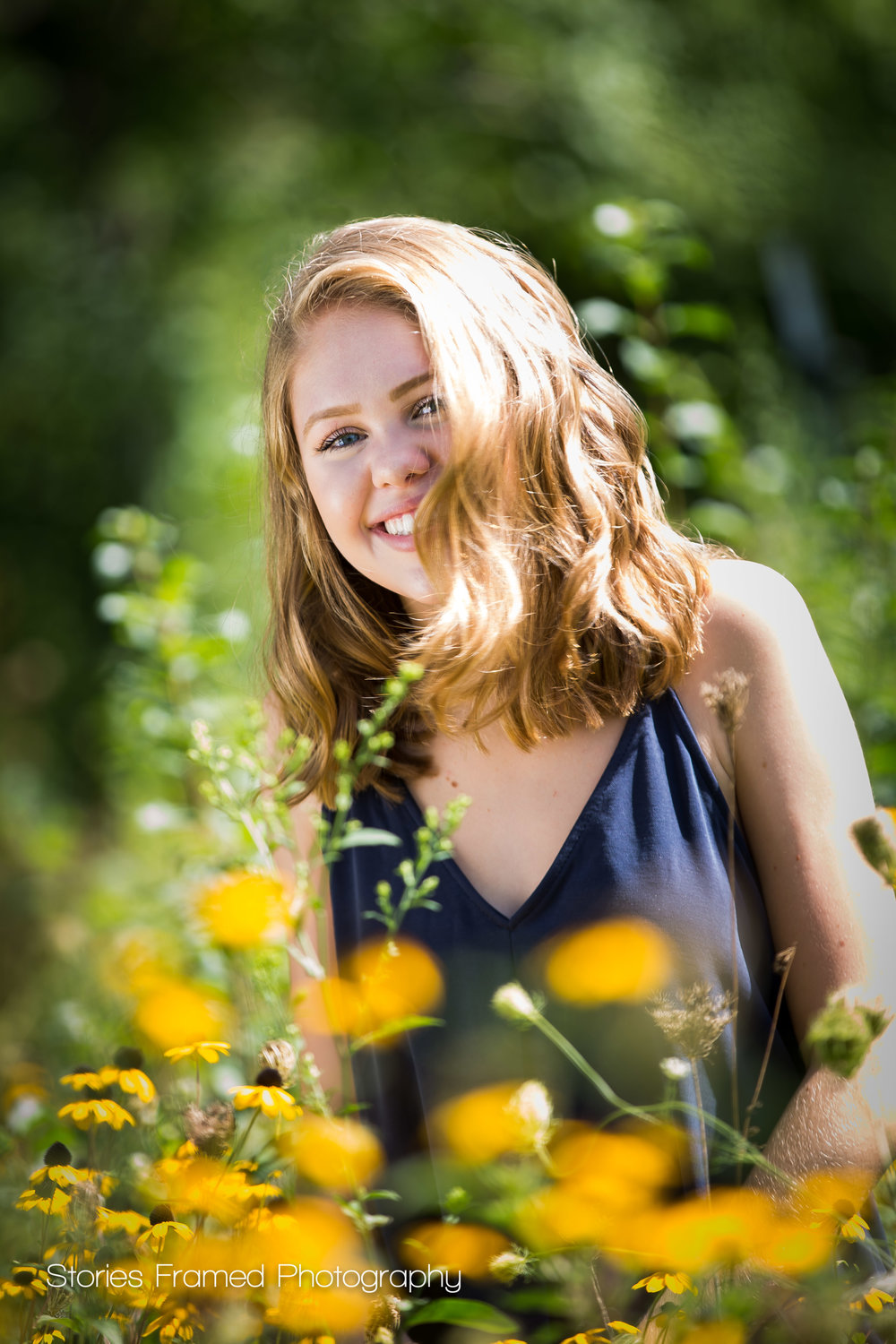Stories Framed Photography | MKEseniors | Tosa East HS girl in flowers