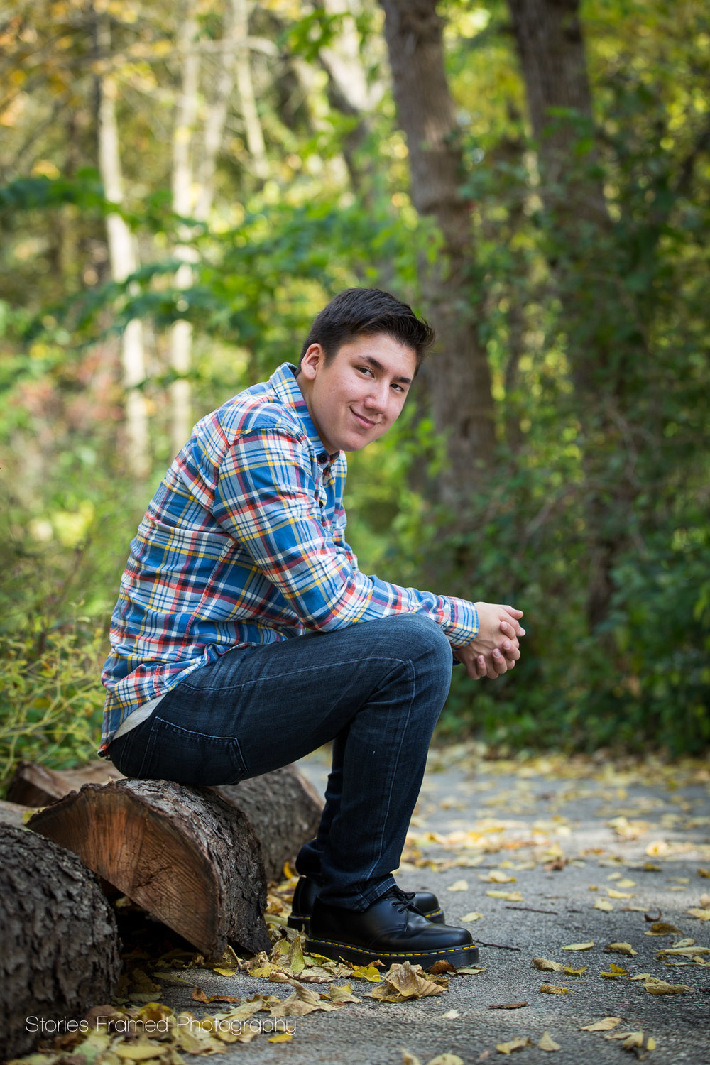 boy in plaid flannel sitting on log