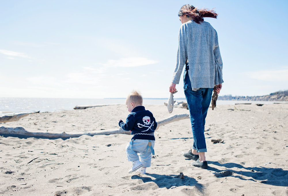 mom and son on beach