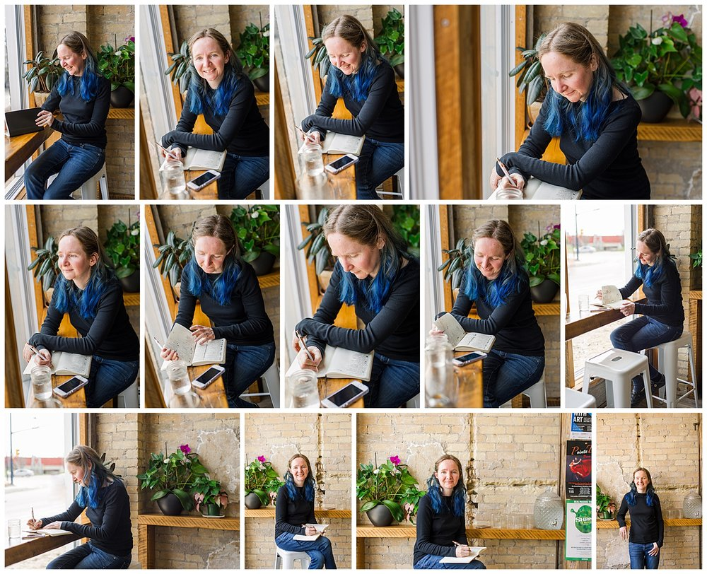 Coffee shop headshots and meeting with women entrepreneur