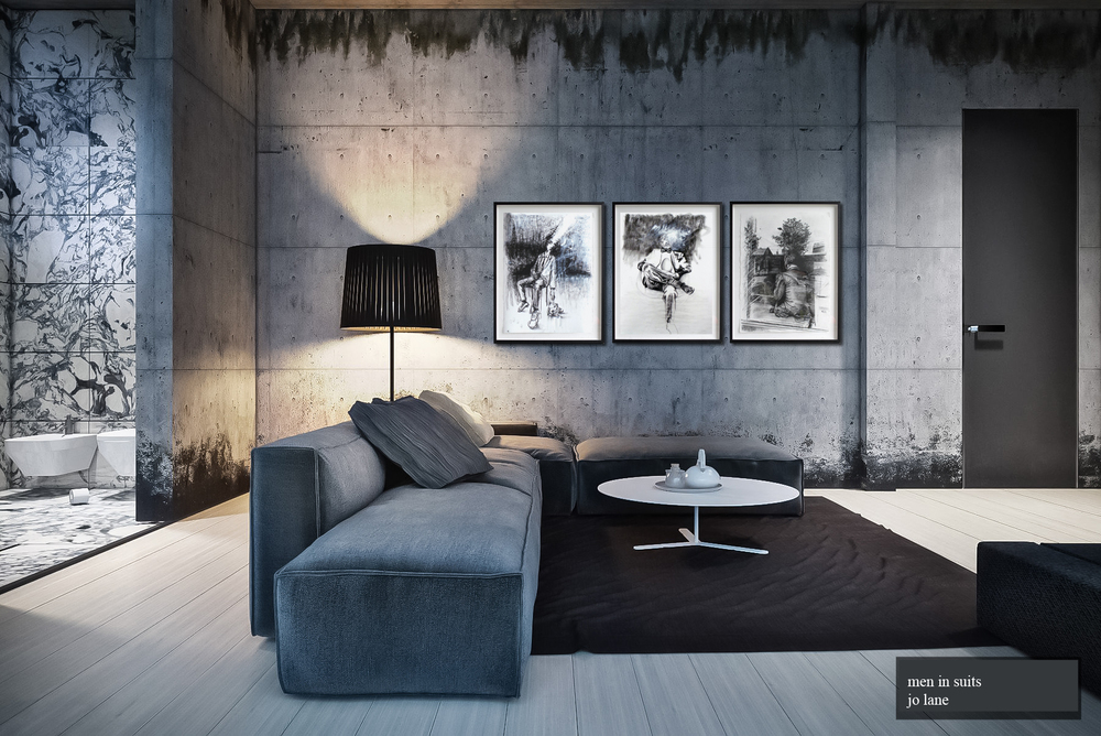 'Men In Suits' series - simulated room display