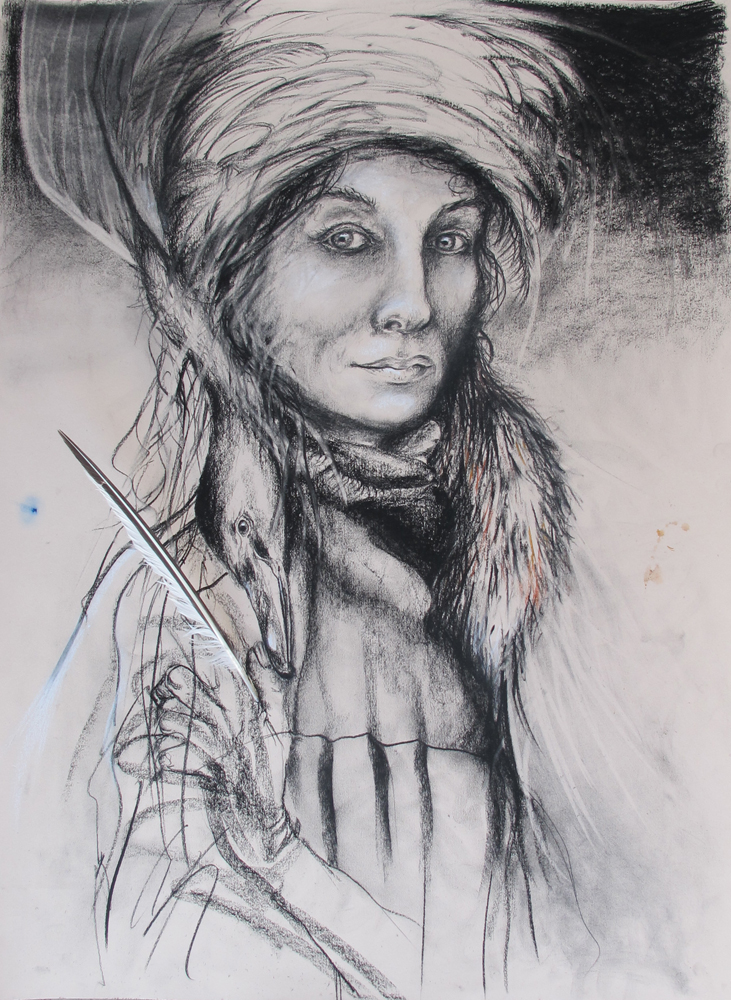 untitled, charcoal conte and feather 56 x 76 cm