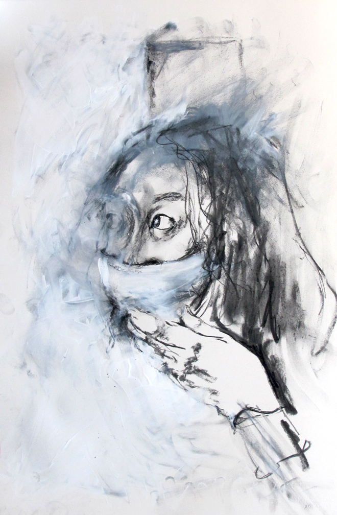 the disease, charcoal & acrylic on arches smooth 300gsm 36 x 56 cm