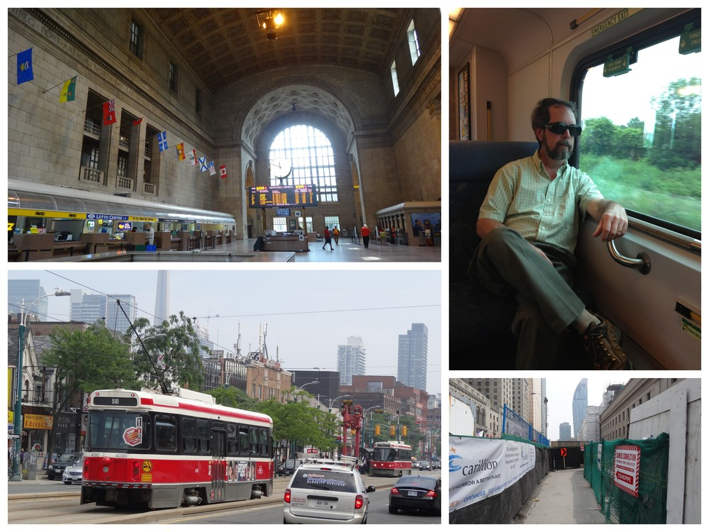 The Train station - Relaxing on the Go Train - Electric Bus in Chinatown - Construction everywhere