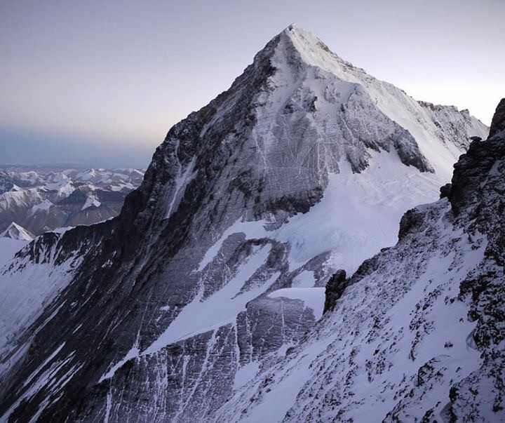 The tip top of Mt. Everest, on the South side.