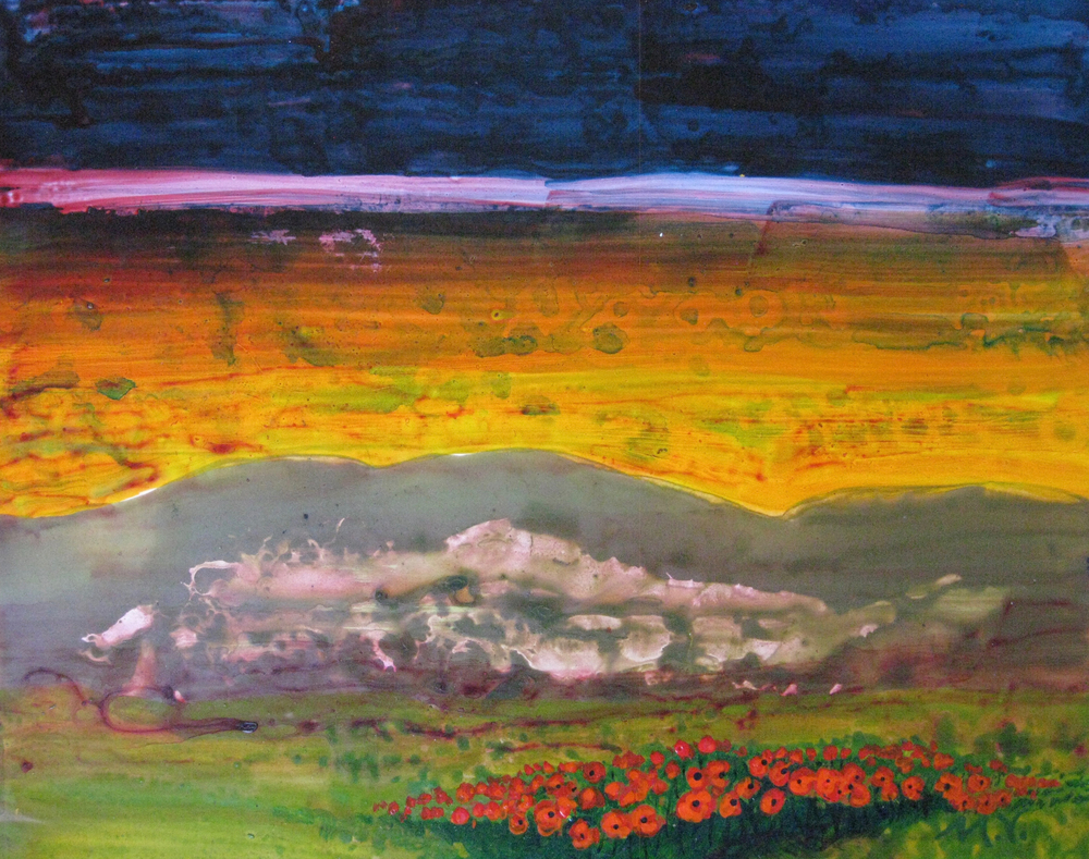 """Sunset near Vienne"" by Mary Virginia Hill - 11 x 14 - Acrylic on Yupo Paper"