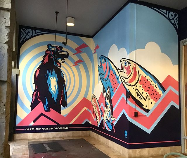 "And that's a wrap! I want to thank the folks @wework #holyoke for the opportunity to go wild with their entry way walls. Here's a few completed shots of the #mural. If you live in #Seattle, head to @storyville and snag a coffee then swing by 107 Spring St. to check out the new addition.  About the artwork: the mural is called ""Nature and Tech Collide."" Seattle is such a stunning city. There's nature and wildlife all around you, and then you have the emergence of tech giants making their presence known, and you can feel the balance shifting. There's no question Seattle's tech boom has some residents grumbling. I wanted to create a piece with an optimistic, positive viewpoint on this shift in the city's identity, something all in Seattle could embrace and enjoy for years to come. -Mitch . . . . . . #streetart #pioneersquare #seattle #vrbear #pnw #westcoast #northwest #wallart #pnwlife #mural #illustration #haystackstudios #creatingstuffforgoodpeople #goodpeople #wework #goodstuff #painting #colorpunch #novacolor #design #tech"
