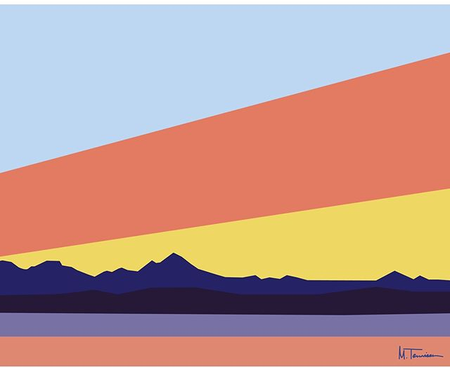 Sunset hill . . . . . #Minimal #mountains #color #pnw #seattle #washington #sunset #sunsethill #olympicmountains #simple #design #abstract #illustration #art #studio #haystackstudios #water