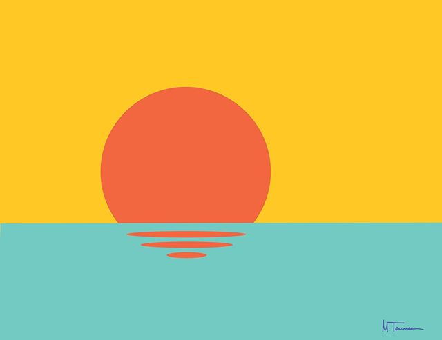 Sunset . . #sunset #illustration #orange #coast #water #design #shapes #haystackstudios #art #artist #color #minimal #simple #beach
