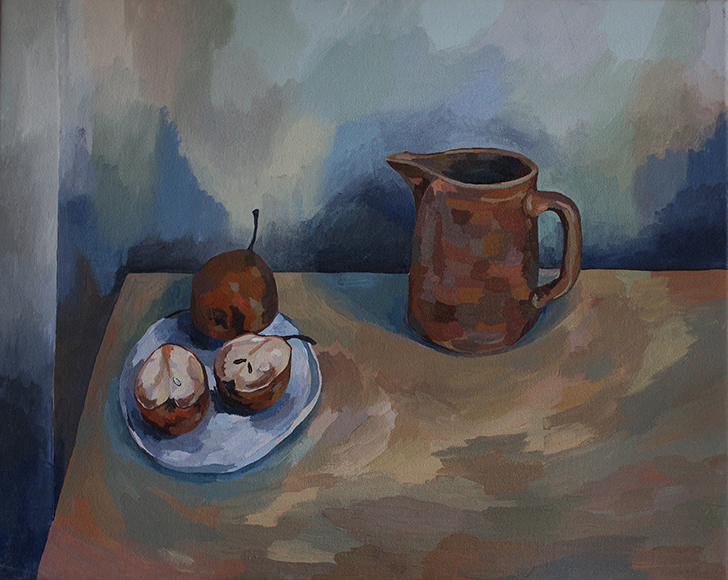 Still Life with Jug and Pears , 2017 acrylic on canvas, 50cm x 40cm