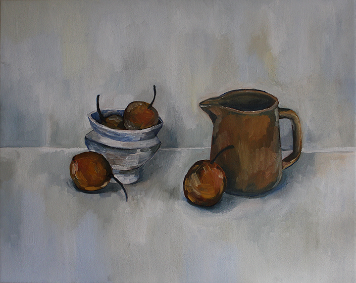 Still Life with Pears and Ceramic Bowl , 2017 oil on canvas, 50cm x 40cm