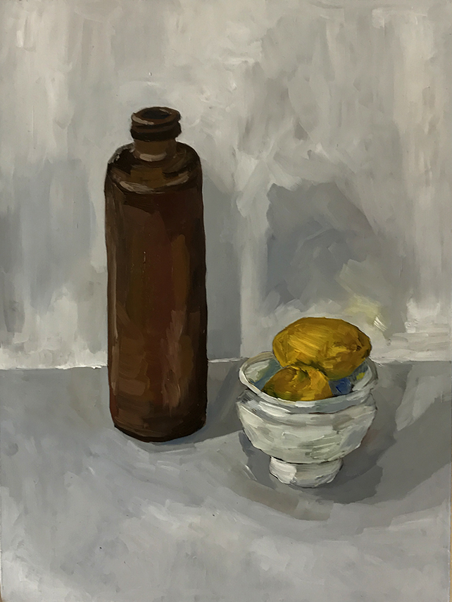 Still Life with Lemons and Ceramic Bowl , 2017 Oil on board, 30cm x 40cm, email hello@sethsearle.com to enquire
