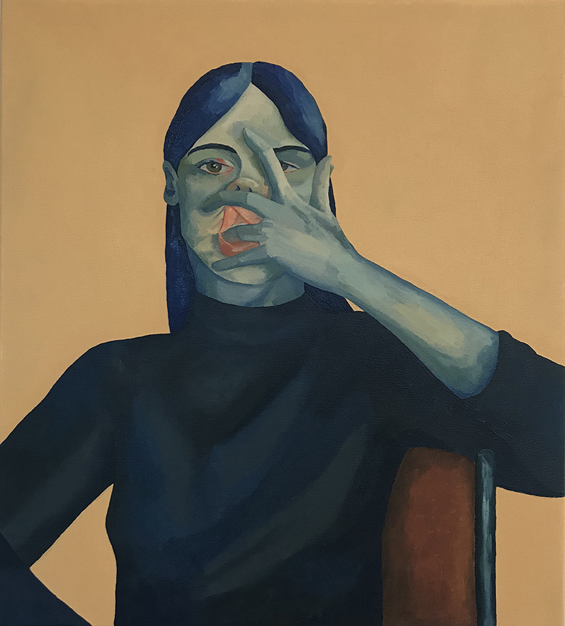 Portrait in Blue , 2018 oil on canvas 45cm x 50cm