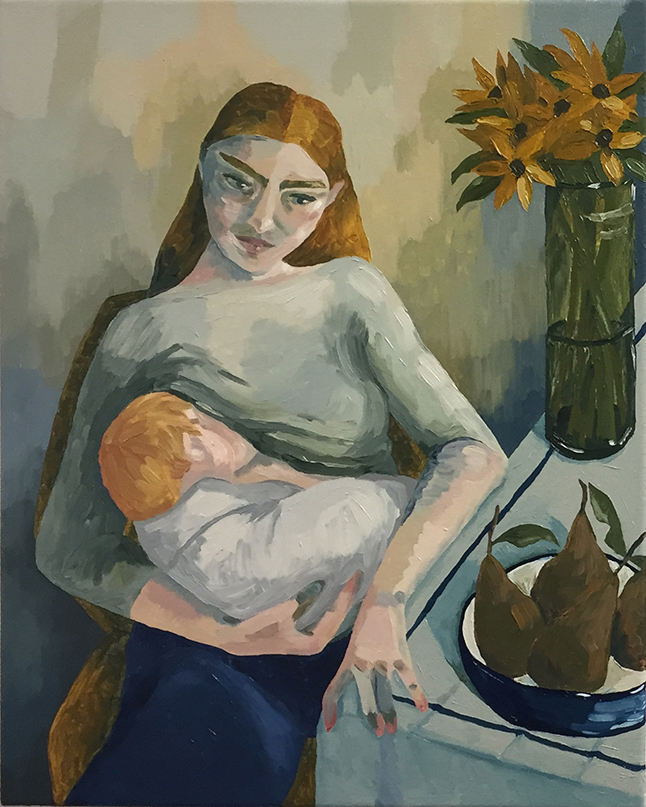 Young Mother and Child , 2017 oil on canvas, 40cm x 50cm