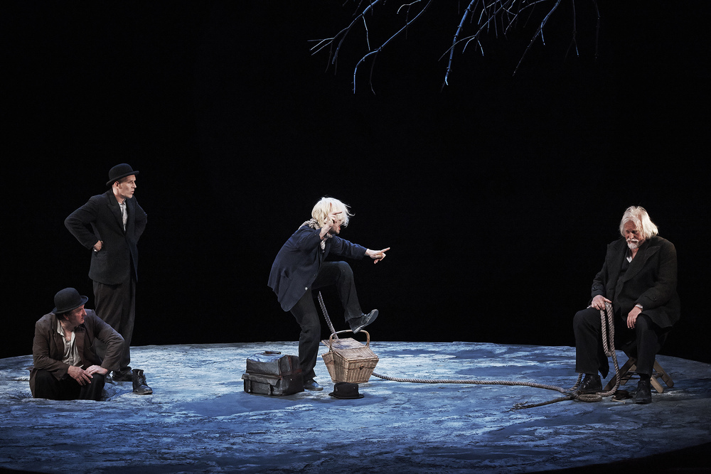 Gary Lydon (Estragon), Conor Lovett (Vladimir), Tadgh Murphy (Lucky) and Gavan O'Herlihy (Pozzo) in Gare St Lazare Players/Dublin Theatre Festival production of Waiting For Godot directed by Judy Hegarty Lovett. Photo by Ros Kavanagh.