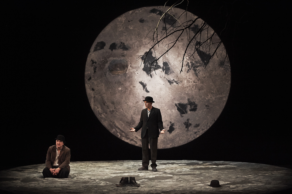 Gary Lydon (Estragon) and Conor Lovett (Vladimir) in Waiting For Godot by Samuel Beckett.  Photo by Ros Kavanagh.