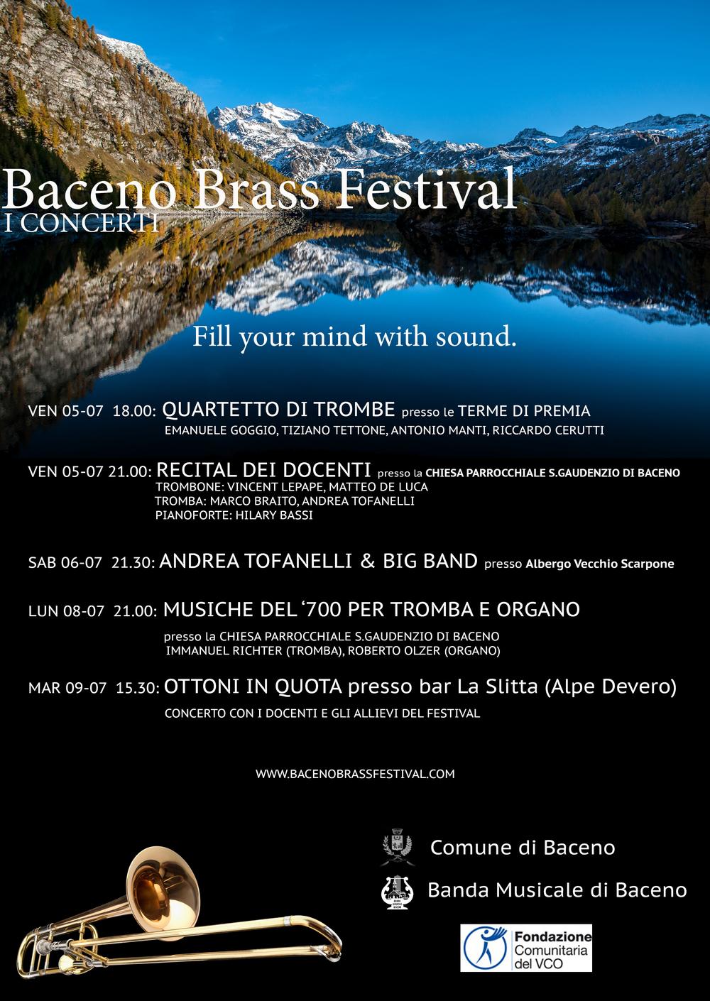 Il programma del Baceno Brass Festival