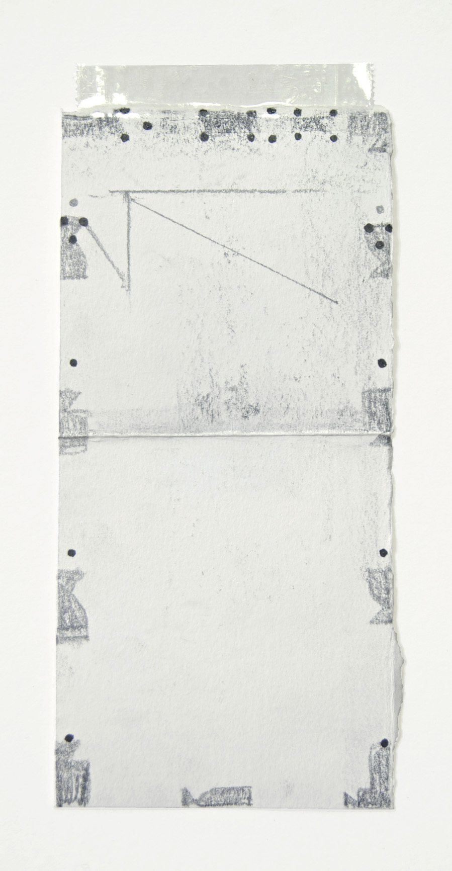 Untitled 2015    15x6,5 cm.     Graphite, ink and tape on folded paper