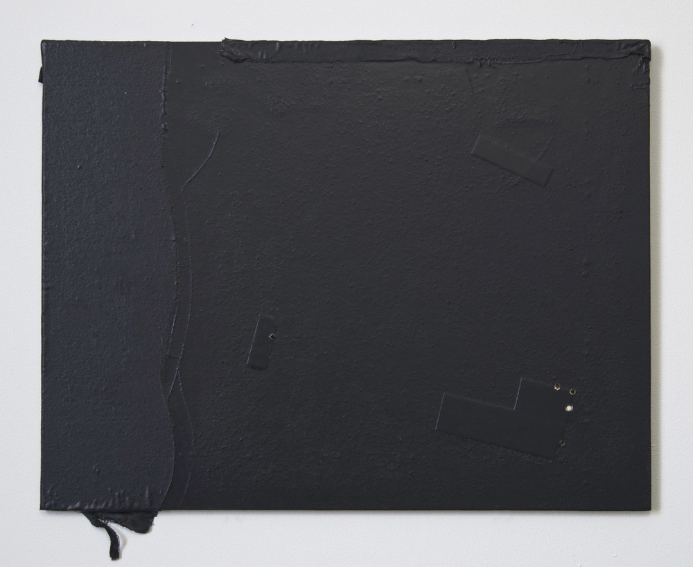 Untitled 2015    39x50 cm.     Wood, fabric, paper, enamel, 5 holes (one of them filled)
