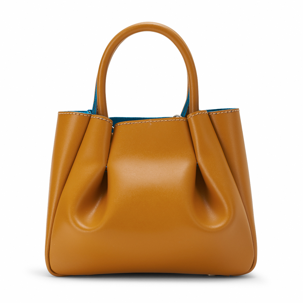 The Mini Ruched Tote - Oak / Turquoise