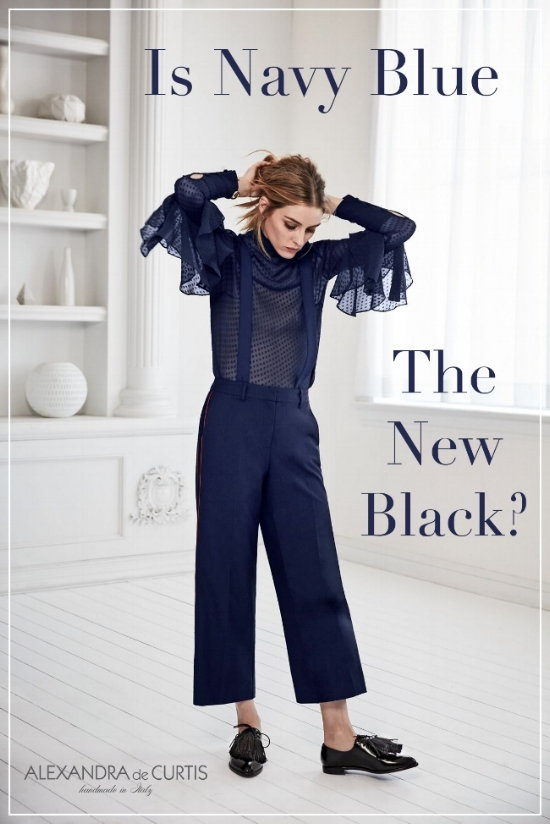 Love this shot of Olivia Palermo wearing a monochrome navy blue outfit.  Olivia Palermo + Chelsea28 Tiered Sleeve Silk Top