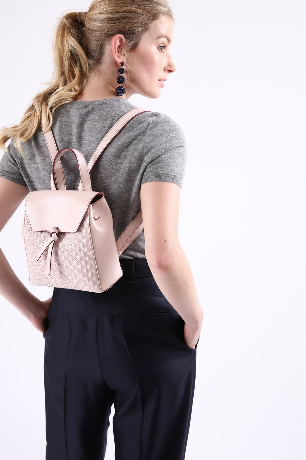 Alexandra de Curtis Blush Pink Scudo Mini Backpack