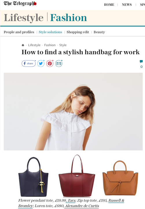 The Alexandra de Curtis Loren Tote featured in The Telegraph How to find a stylish handbag for work