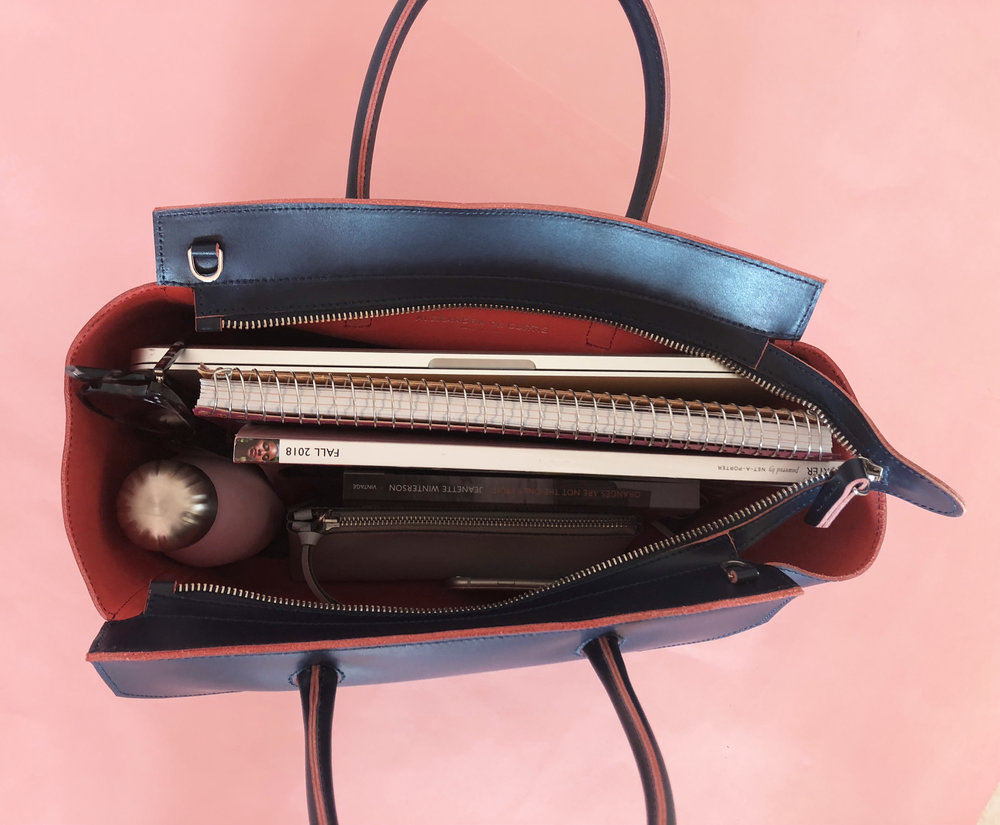 What fits in my Loren Tote Navy interior