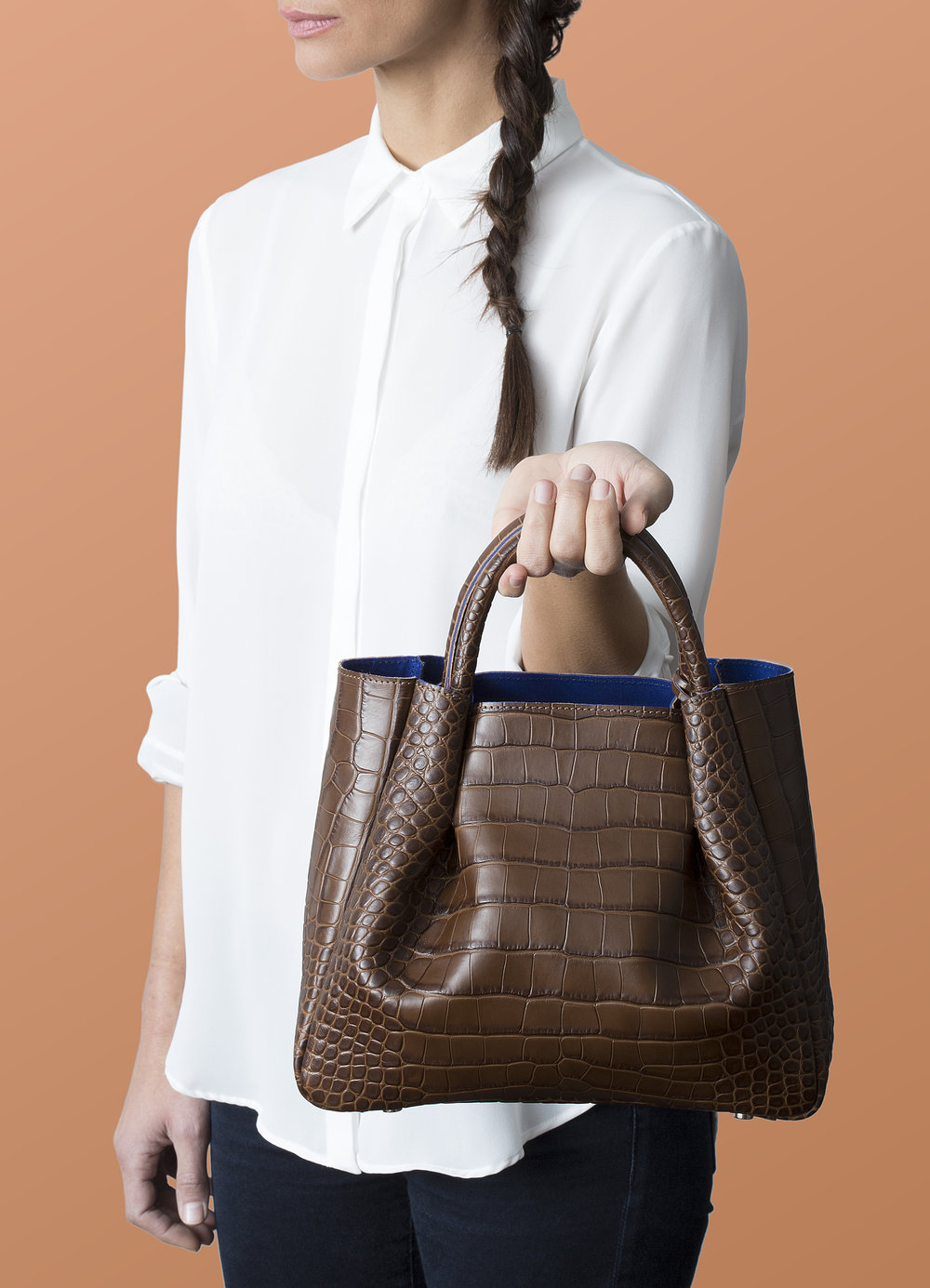 Alexandra de Curtis AW18 Campaign_Midi Ruched Tote Brown Croc site.jpeg