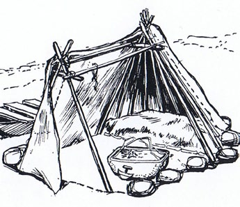 Typical construction of a Tupiq with a ridge and hanging frame figure 12 - see references page