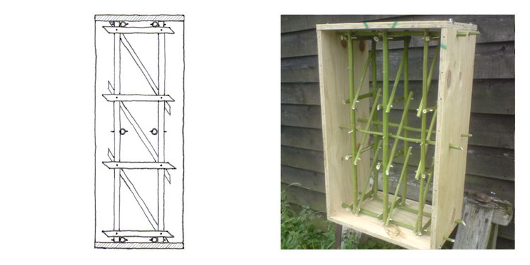 Three with hemp stalk frame and three with traditional lime-hemp were produced for compression tests