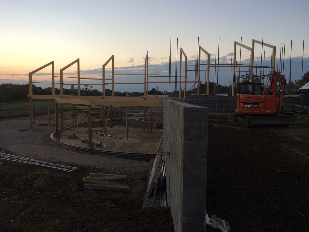 Construction update - Clayhill Farm as the timber portal frame is erected