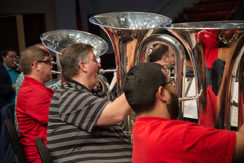 Tuba section: Roger Galabeas, Rick Potter, Andrew Barrington, Mike Harris