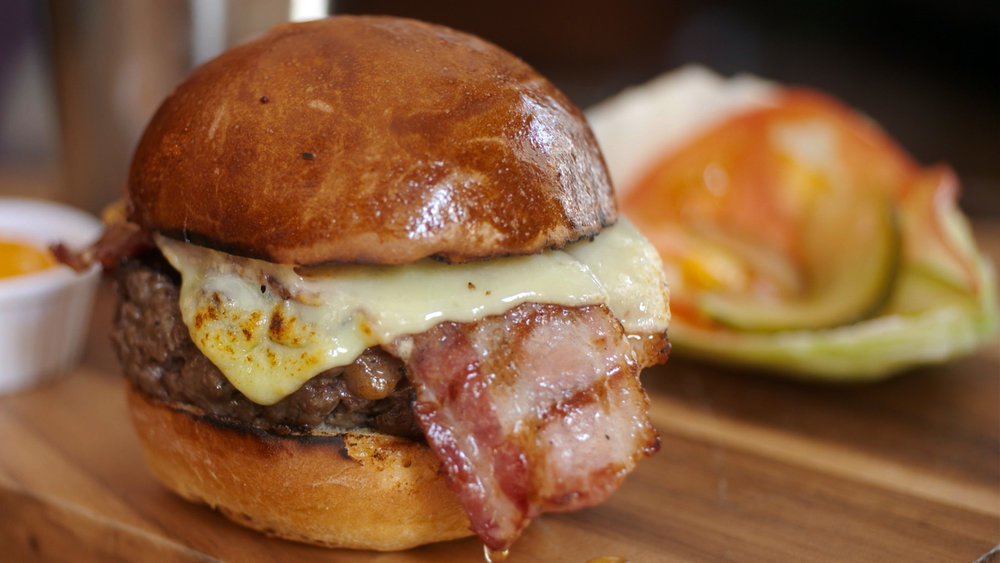 hand chopped burger - The making of the Running Horse's signature dish, the Hand Chopped Burger