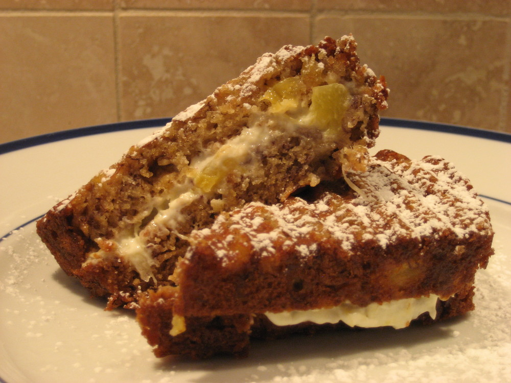 Tropical Breeze Banana Bread Panini with Pineapple Ginger Cream Cheese