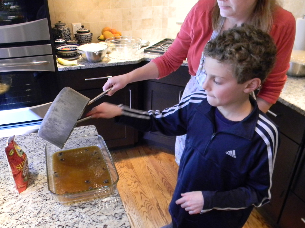 Pour into baking dish