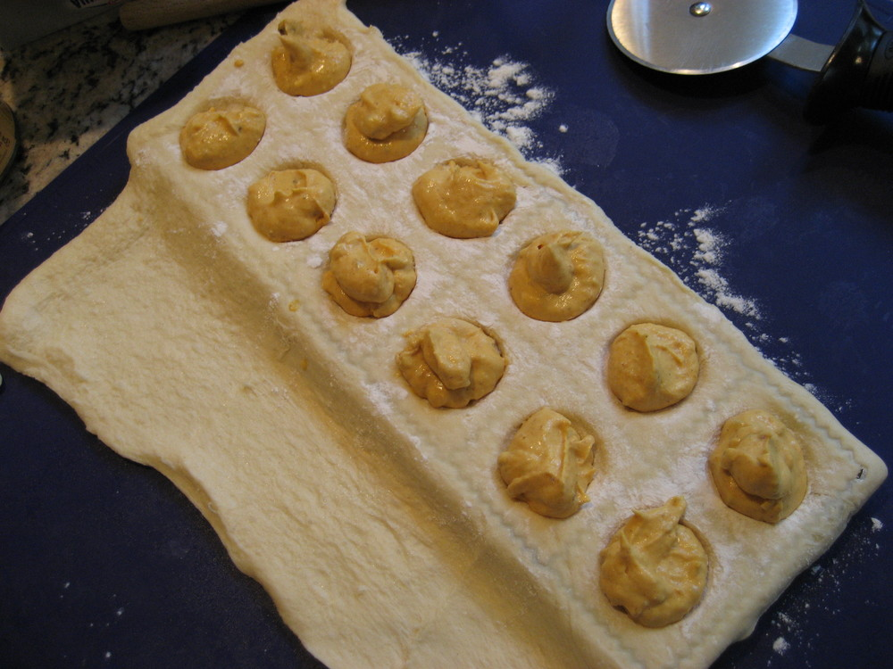 Experimenting with various ravioli forming methods while developing the pumpkin ravioli recipe. January, 2011