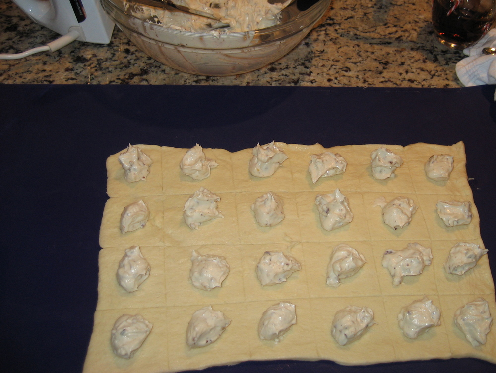 Testing different filling flavors while developing ravioli recipe.  January, 2011