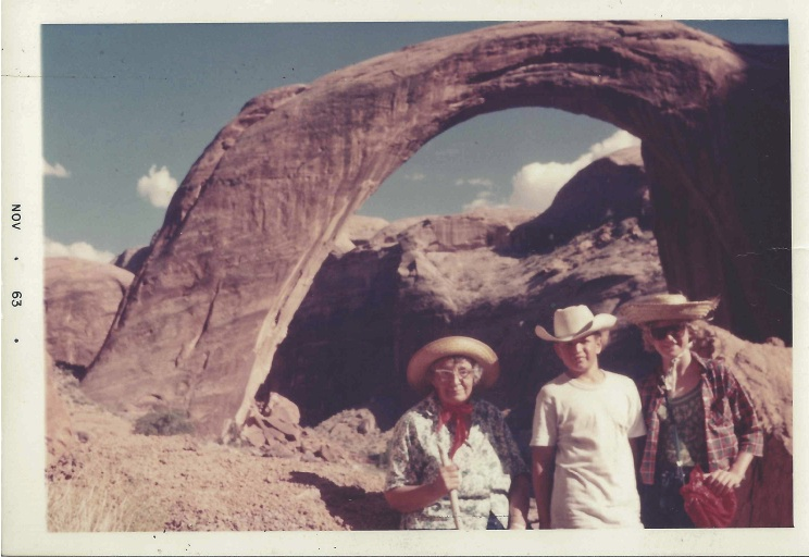 Grandma Appolonia (on left) on a white water rafting trip in the Grand Canyon, 1963, at age 68.