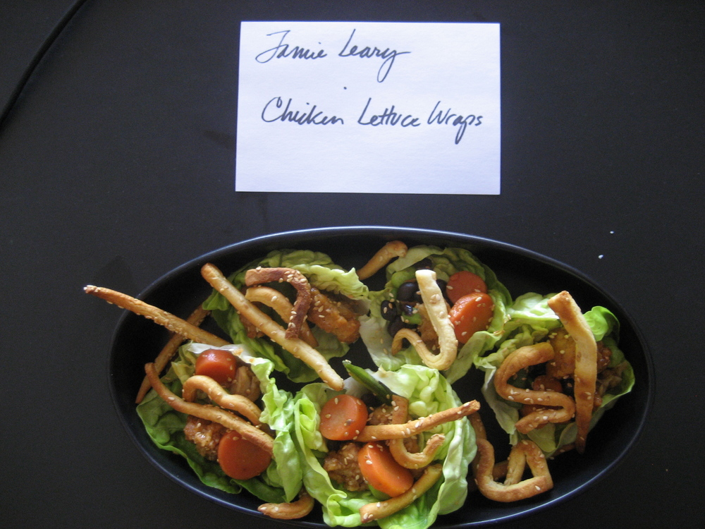 Senior Art Director, Jamie Leary, crafted Denise Pounds'   Chicken Lettuce Wraps & Sesame Crescent Noodles   with artful detail.  The color and crunch really made this dish pop!  I loved biting into the buttery lettuce, tender chicken and crispy noodles.