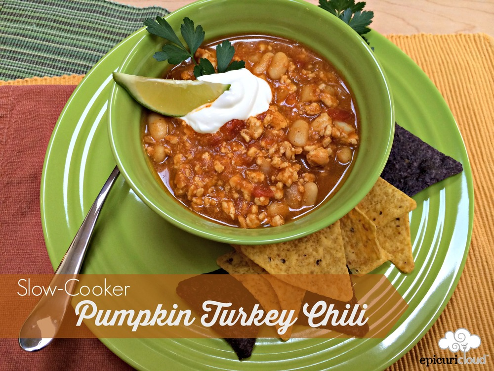 Slow-Cooker Pumpkin Turkey Chili - epicuricloud