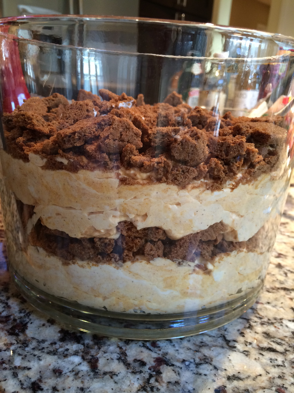 layer with crumbled cookies